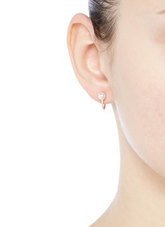 Phyne By Paige Novick 'TPLT' diamond pavé hook pearl 18k gold earrings