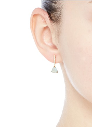 Figure View - Click To Enlarge - Phyne By Paige Novick - 'Building Blocks' diamond pavé 18k gold opal earrings