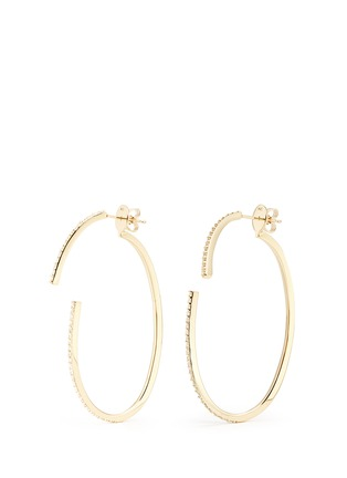 Main View - Click To Enlarge - Phyne By Paige Novick - 'Converge' diamond pavé 18k gold hoop earrings