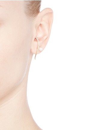 Figure View - Click To Enlarge - Phyne By Paige Novick - 'Infinity' diamond pavé pearl 18k gold single earring