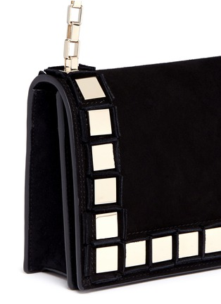 Detail View - Click To Enlarge - TOMASINI - '40 Squares' mini mirror plate suede shoulder bag