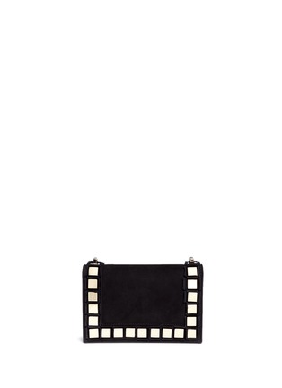 Back View - Click To Enlarge - TOMASINI - '40 Squares' mini mirror plate suede shoulder bag
