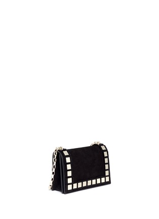 Front View - Click To Enlarge - TOMASINI - '40 Squares' mini mirror plate suede shoulder bag