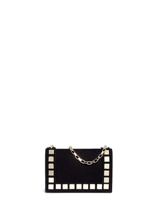 Main View - Click To Enlarge - TOMASINI - '40 Squares' mini mirror plate suede shoulder bag