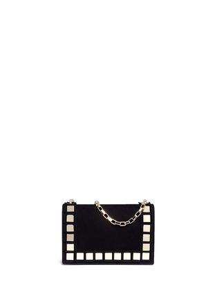 Main View - Click To Enlarge - TOMASINI - '40 Squares' mini mirror plate suede shoulder bag