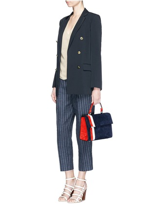 Figure View - Click To Enlarge - TOMASINI - 'ETT008' stripe suede satchel