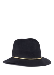 Janessa Leone'Stephen' metal bar wool felt fedora hat