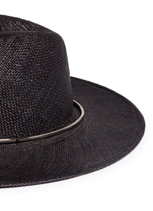 Detail View - Click To Enlarge - Janessa Leone - 'Begonia' metal ring straw Panama hat