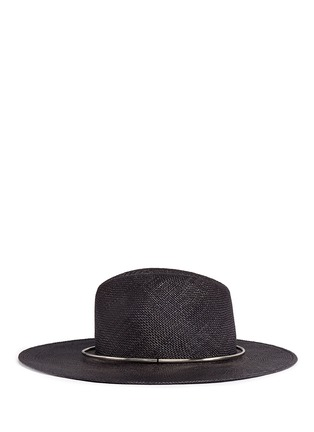 Figure View - Click To Enlarge - Janessa Leone - 'Begonia' metal ring straw Panama hat
