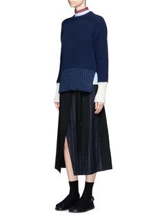 Cédric CharlierAsymmetric pinstripe tie waist wool wrap skirt