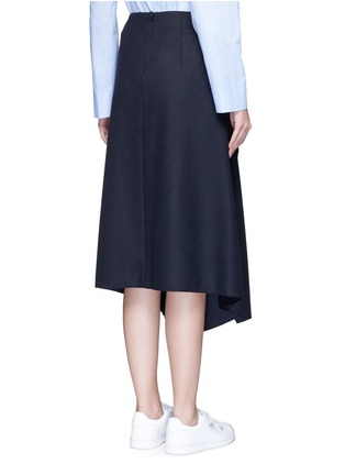 Back View - Click To Enlarge - Cédric Charlier - Drape front wool midi skirt
