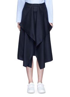 Cédric CharlierDrape front wool midi skirt