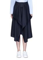 Drape front wool midi skirt