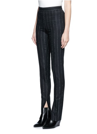 Front View - Click To Enlarge - Cédric Charlier - Pinstripe split cuff skinny fit pants