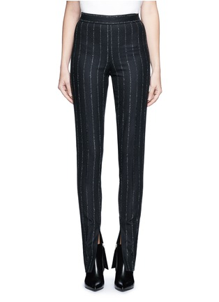 Main View - Click To Enlarge - Cédric Charlier - Pinstripe split cuff skinny fit pants