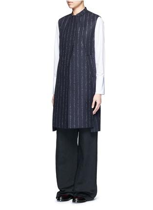 Front View - Click To Enlarge - Cédric Charlier - Pinstripe revers lapel long vest
