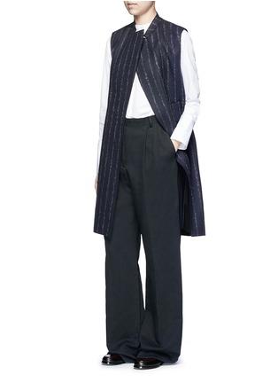 Figure View - Click To Enlarge - Cédric Charlier - Pinstripe revers lapel long vest