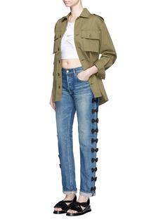 Tu Es Mon TrésorPetersham ribbon bow appliqué selvedge jeans