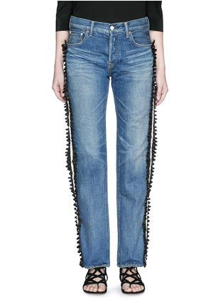 Detail View - Click To Enlarge - Tu Es Mon Trésor - Ruffle petersham ribbon trim selvedge jeans