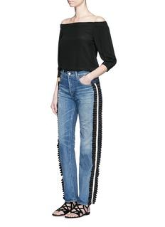 Tu Es Mon TrésorRuffle petersham ribbon trim selvedge jeans