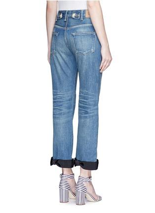 Tu Es Mon Trésor-Petersham ribbon bow cuff selvedge jeans