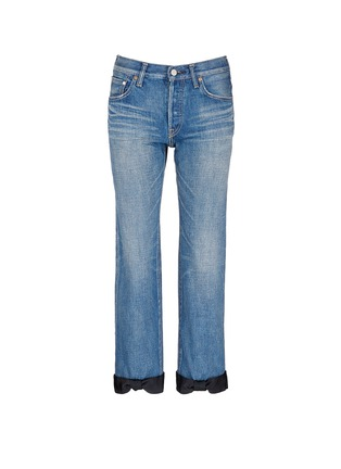 Main View - Click To Enlarge - Tu Es Mon Trésor - Petersham ribbon bow cuff selvedge jeans