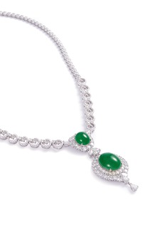 LC COLLECTION JADE Diamond jade 18k gold pendant necklace