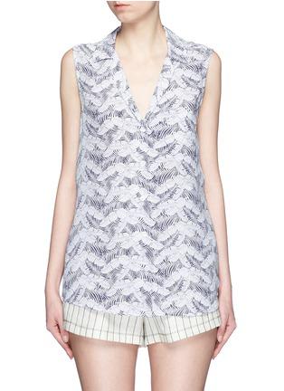 Main View - Click To Enlarge - Equipment - 'Sleeveless Keira' tropical print silk shirt