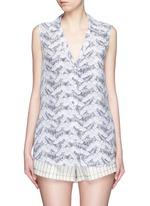 'Sleeveless Keira' tropical print silk shirt