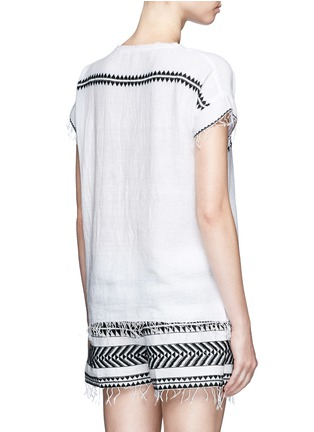 Back View - Click To Enlarge - Lemlem - 'Freya' tibeb embroidery V-neck T-shirt