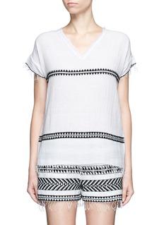 Lemlem'Freya' tibeb embroidery V-neck T-shirt