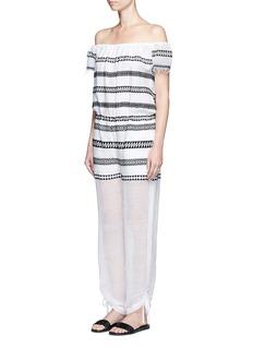 Lemlem'Freya' tibeb embroidery off-shoulder jumpsuit