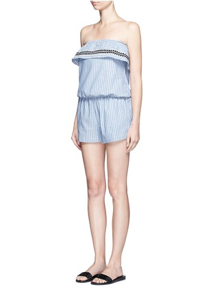 Front View - Click To Enlarge - Lemlem - 'Mara' stripe embroidery strapless rompers