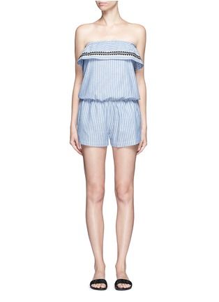 Main View - Click To Enlarge - Lemlem - 'Mara' stripe embroidery strapless rompers