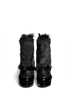ROBERT CLERGERIE'Bessin' fur front patent leather ankle boots