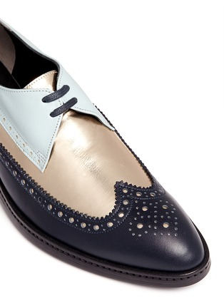 Detail View - Click To Enlarge - Robert Clergerie - 'Xalma' metallic vamp colourblock leather Derbies