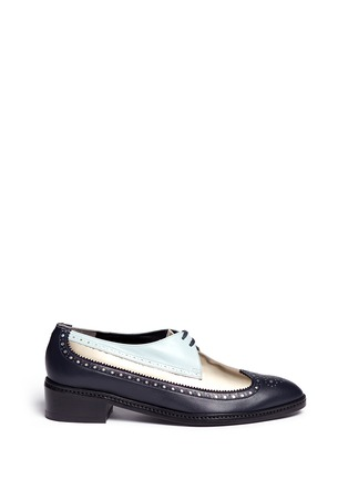 Main View - Click To Enlarge - Robert Clergerie - 'Xalma' metallic vamp colourblock leather Derbies