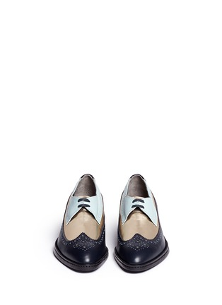 Figure View - Click To Enlarge - Robert Clergerie - 'Xalma' metallic vamp colourblock leather Derbies