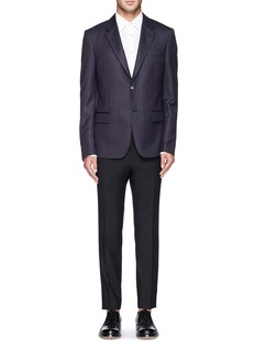 Alexander McQueenLogo pinstripe wool-cashmere blazer