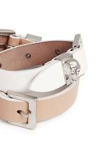 Three buckle double wrap skull leather bracelet
