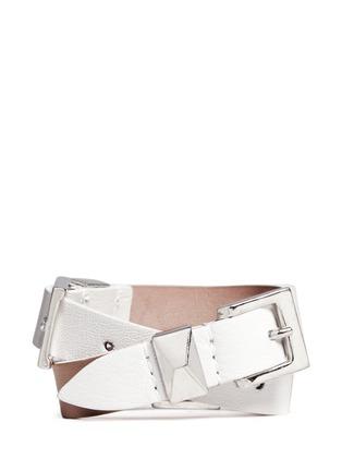 Alexander McQueen-Three buckle double wrap skull leather bracelet