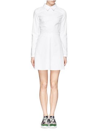 Detail View - Click To Enlarge - ANNA K - Eye print apron poplin shirt dress