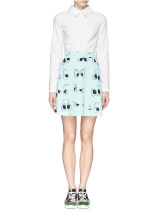 Main View - Click To Enlarge - ANNA K - Eye print apron poplin shirt dress