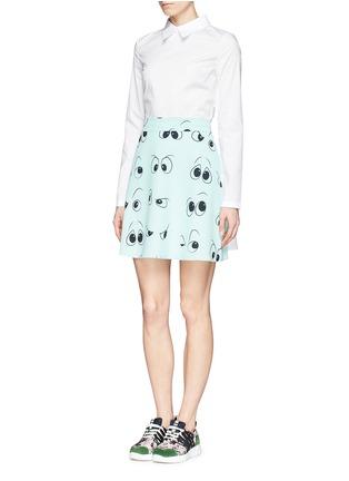 Figure View - Click To Enlarge - ANNA K - Eye print apron poplin shirt dress