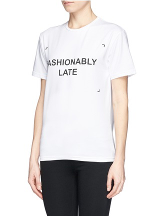 Front View - Click To Enlarge - ANNA K - 'Fashionably Late' slogan T-shirt