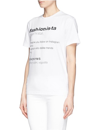 Front View - Click To Enlarge - ANNA K - 'Fashionista' slogan T-shirt