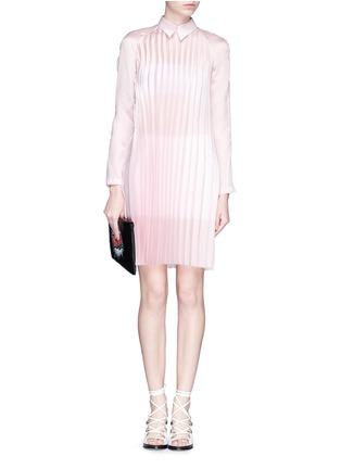 Front View - Click To Enlarge - ANNA K - Plissé pleat silk shirt dress
