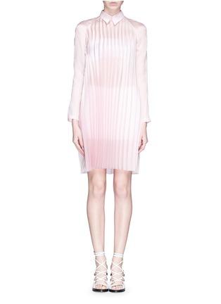 Main View - Click To Enlarge - ANNA K - Plissé pleat silk shirt dress
