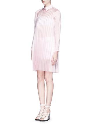 Figure View - Click To Enlarge - ANNA K - Plissé pleat silk shirt dress