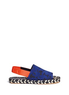 PROENZA SCHOULER Feather print suede slingback espadrille sandals